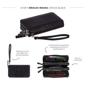 Вместительный клатч с 3-мя автономными отделениями BRIALDI Massa (Масса) croco black